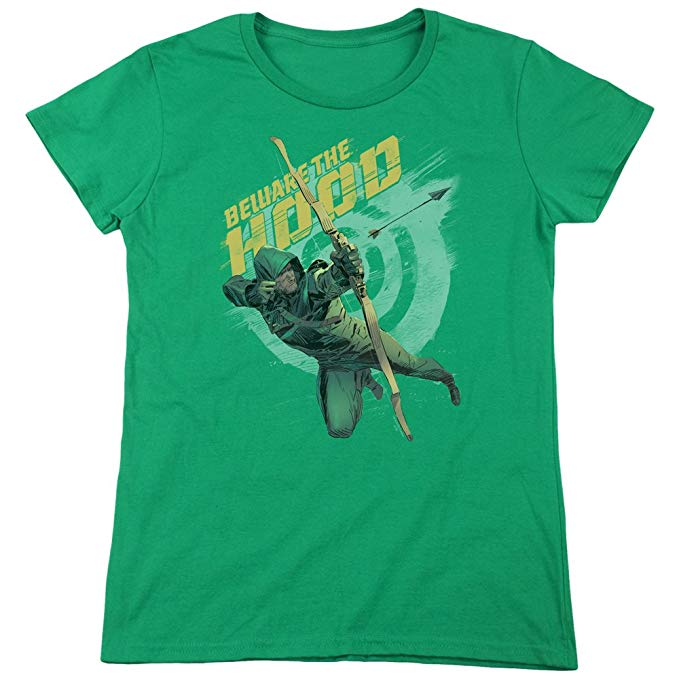Beware The Hood Green Arrow Licensed Adult T-Shirt