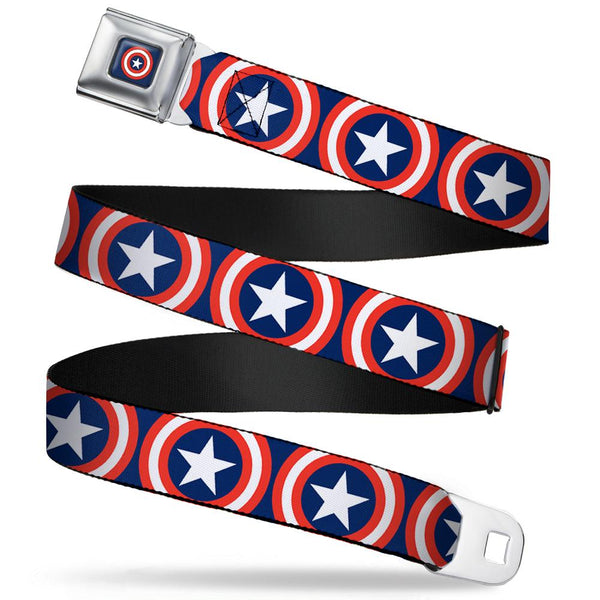 MARVEL UNIVERSE Captain America Shield Full Color Navy Seatbelt Belt - Captain America Shield Repeat Navy Webbing