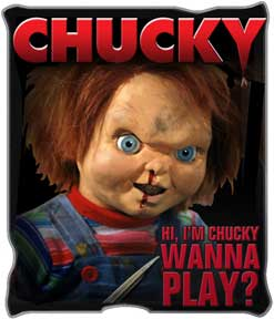 "Chucky ""Wanna Play"" Raschel Throw, 50 x 60 inches"