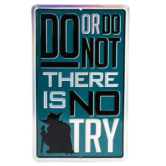 Disney-nStar Wars- Yoda -Do or Do Not die-cut embossed tin sign