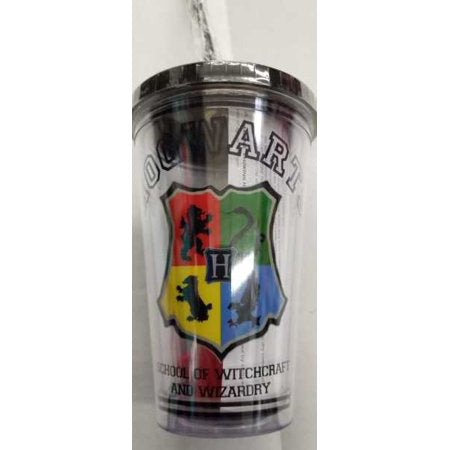Harry Potter Hogwarts School 16oz  Straw Cup With Ice Cubes