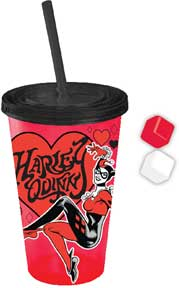 DC Comics Harley Quinn Plastic Cold Cup with Shaped Ice Cubes