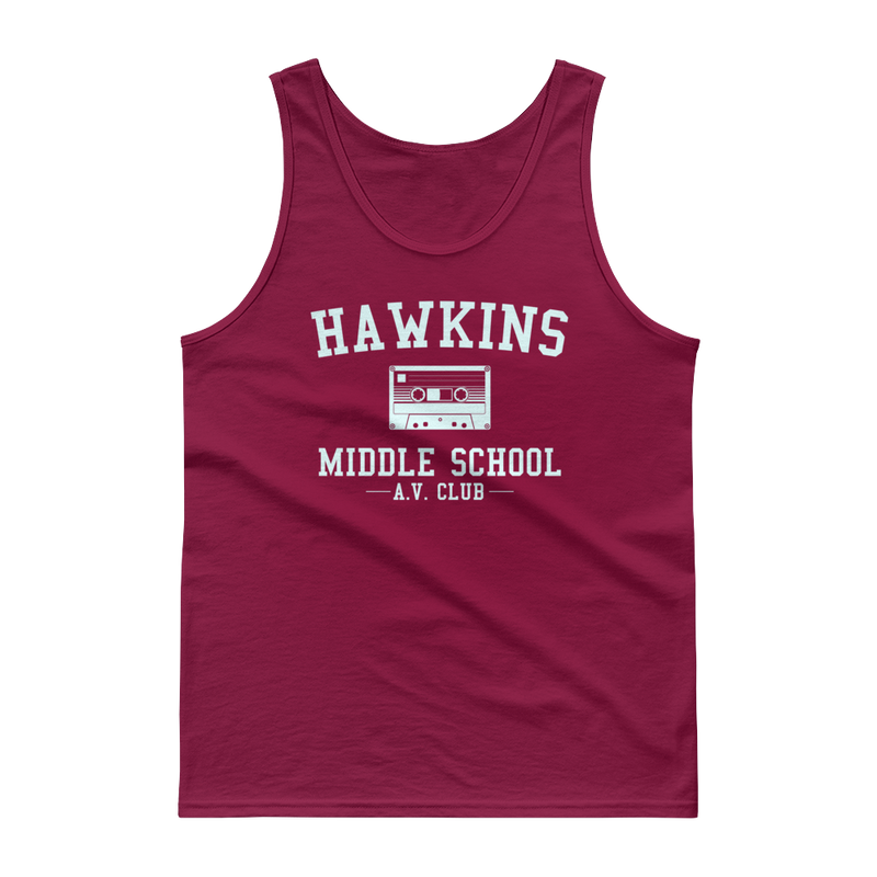 Hawkins Middle School AV Club Adult Unisex Stranger Things Maroon Tank Top