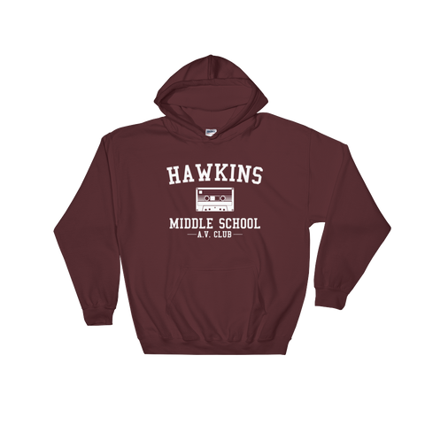 Hawkins Middle School A.V. Club Adult Unisex Stranger Things Hoodie 328a64a32312