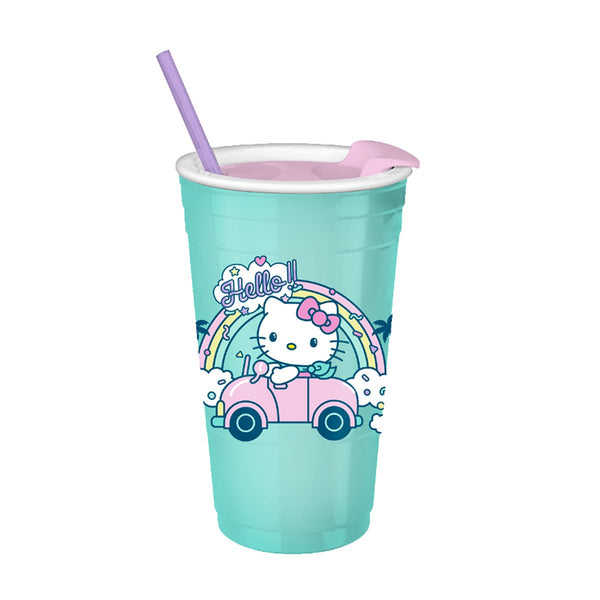 Hello Kitty Rainbow Car 32oz Plastic Tumbler with Lid and Straw - Kryptonite Character Store