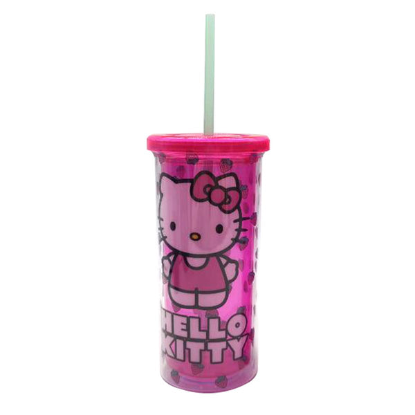 Hello Kitty Strawberry Toss 20oz Plastic Tall Cold Cup with Lid and Straw - Kryptonite Character Store