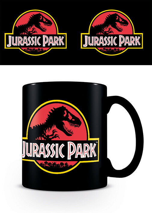 Jurassic Park Official Classic Logo World T-Rex Ceramic Black Mug  - Kryptonite Character Store