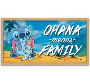 "Stitch and Scrump Ohana Means Family Gel Coat 10"" x 18"" Framed MDF Wall Art - Kryptonite Character Store"