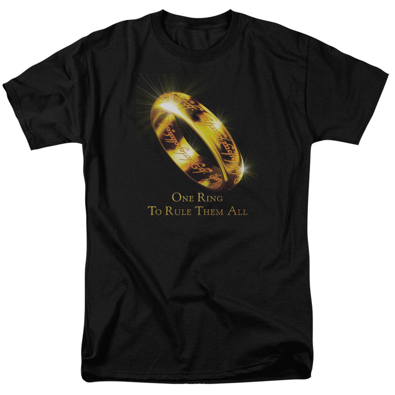 Lord of the Rings One Ring Short Sleeve Adult Tee Black T-Shirt - Kryptonite Character Store