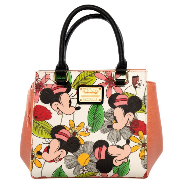 Disney Minnie Mouse Flower Print Faux-Leather Crossbody Bag - Kryptonite Character Store