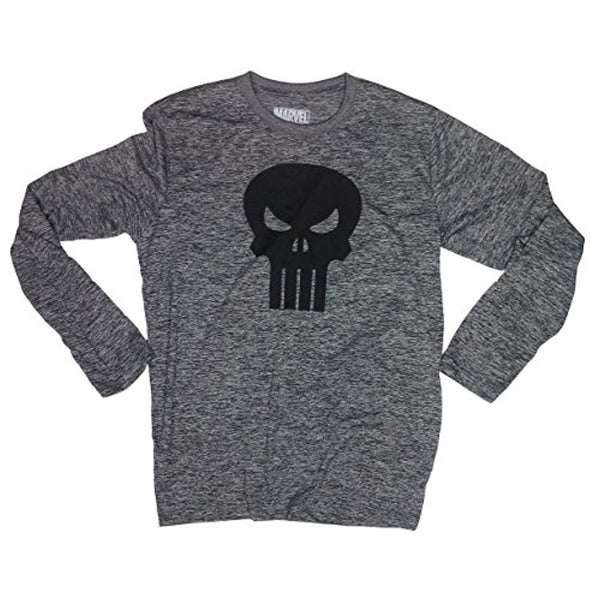 Marvel The Punisher Skull Symbol Workout Polyester Long Sleeve Shirt Mens Gray