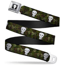 Marvel Comics Punisher Logo Camo Seat Belt Buckle Belt - Kryptonite Character Store