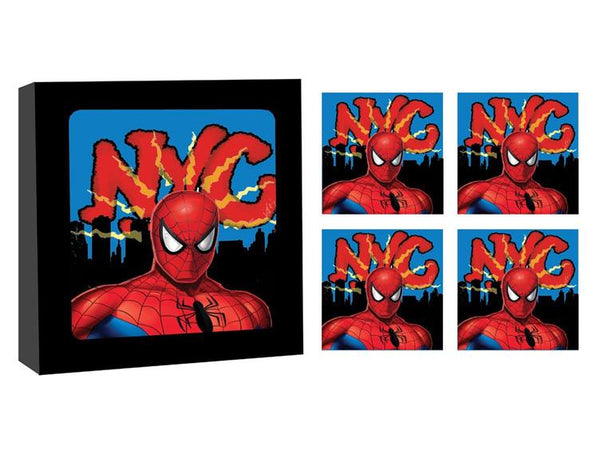 Spider-Man NYC Glass Coaster Set