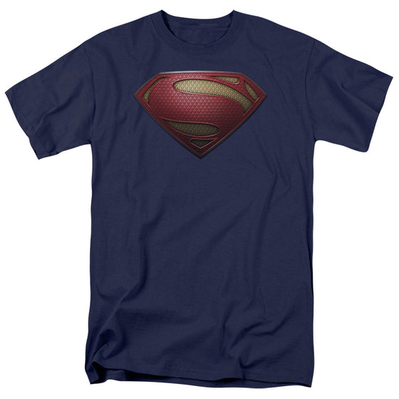 Superman Man of Steel Shield Apparel T-Shirt - Navy Blue