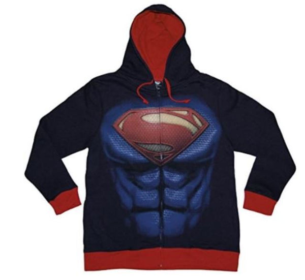 Superman Man Of Steel Costume Zipper Hoodie