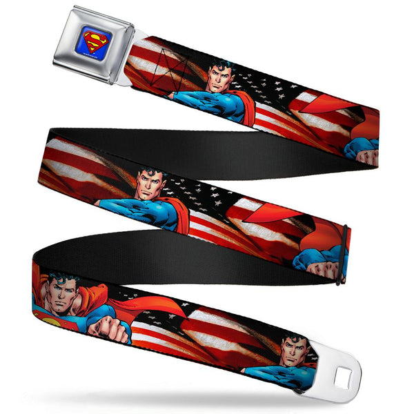 Superman Poses/American Flag Full Color Blue Seatbelt Buckle Belt  - Kryptonite Character Store