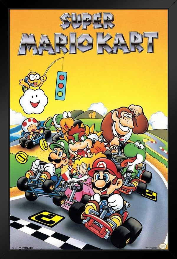 Super Mario Go Kart Racing Framed Poster - Kryptonite Character Store