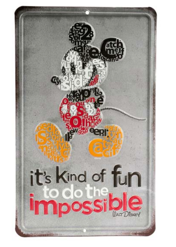 Mickey Mouse - Do The Impossible Metal Wall Art Sign