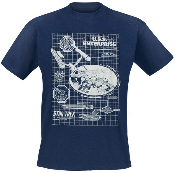 Star Trek U.S.S. Enterprise Schematic Men T-shirt *CLEARANCE*