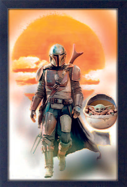 The Mandalorian Mando & Yoda 11x17 Framed Print- Kryptonite Character Store