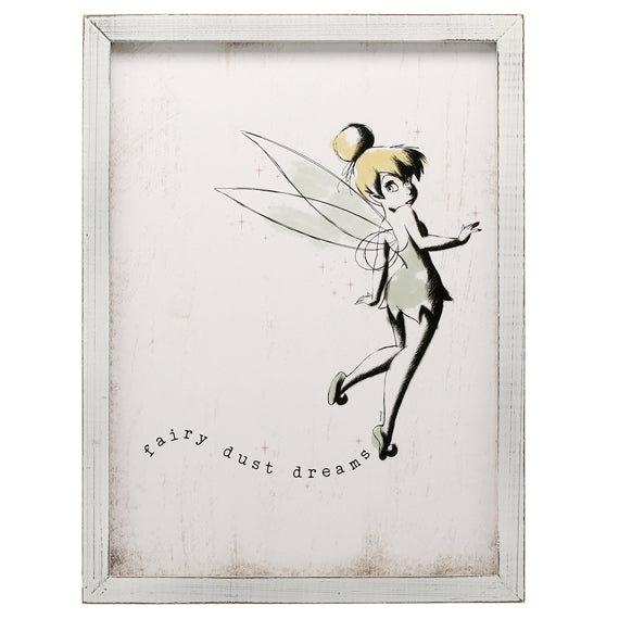 Tinker Bell Rustic Wood Framed Wall Decor - Kryptonite Character Store
