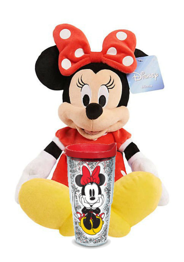 "Minnie Mouse Valentine's Day Gift Set - Plush 17"" & Tervis Tumbler Bundle 16oz - Kryptonite Character Store"