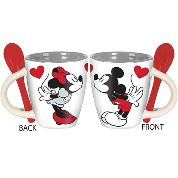Disney Kissing Minnie and Mickey Set of 2 Mini Espresso Mugs with Spoon - Kryptonite Character Store