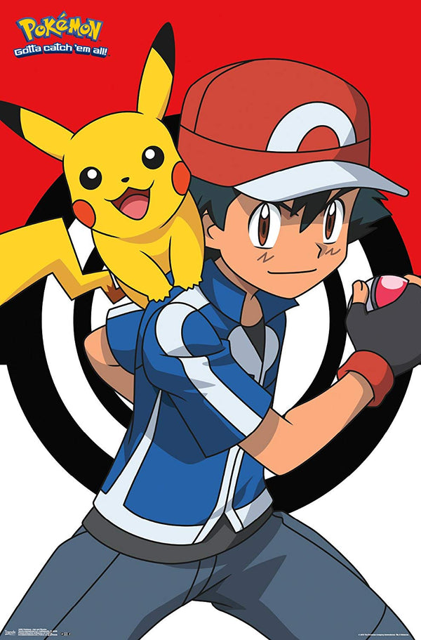 Pokemon Ash and Pikachu Wall Poster- Kryptonite Character Store