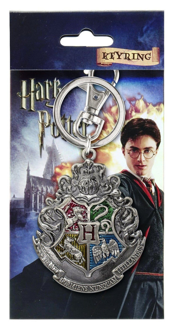 Harry Potter Pewter Keychain: Hogwarts School Crest