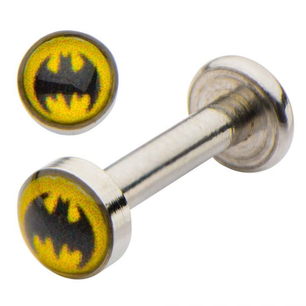 14g Batman Logo Top Labret Stud with a 5/16 inch length