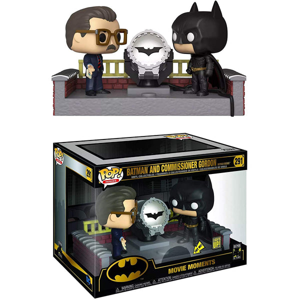 Pop Movie Moment: Batman 80th - Batman with Light Up Bat Signal - Kryptonite Character Store