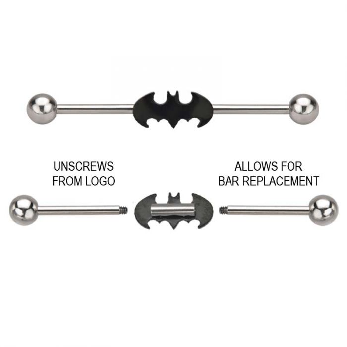 14g 316L Stainless Steel Black Batman Industrials Barbell