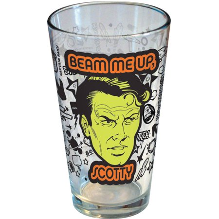Star Trek - Beam Me Up Scotty - Wrap Logos 16-Ounce Pint Glass - Kryptonite Character Store