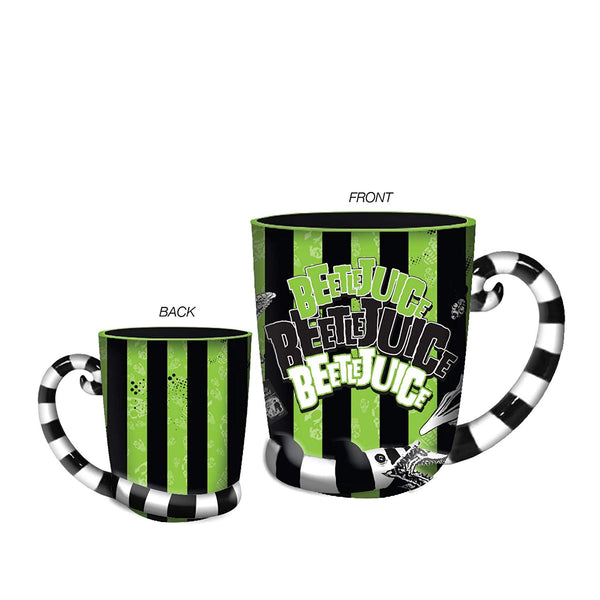 Beetlejuice Stripes and Names Boxed Ceramic 3D Sculpted Mug - Kryptonite Character Store