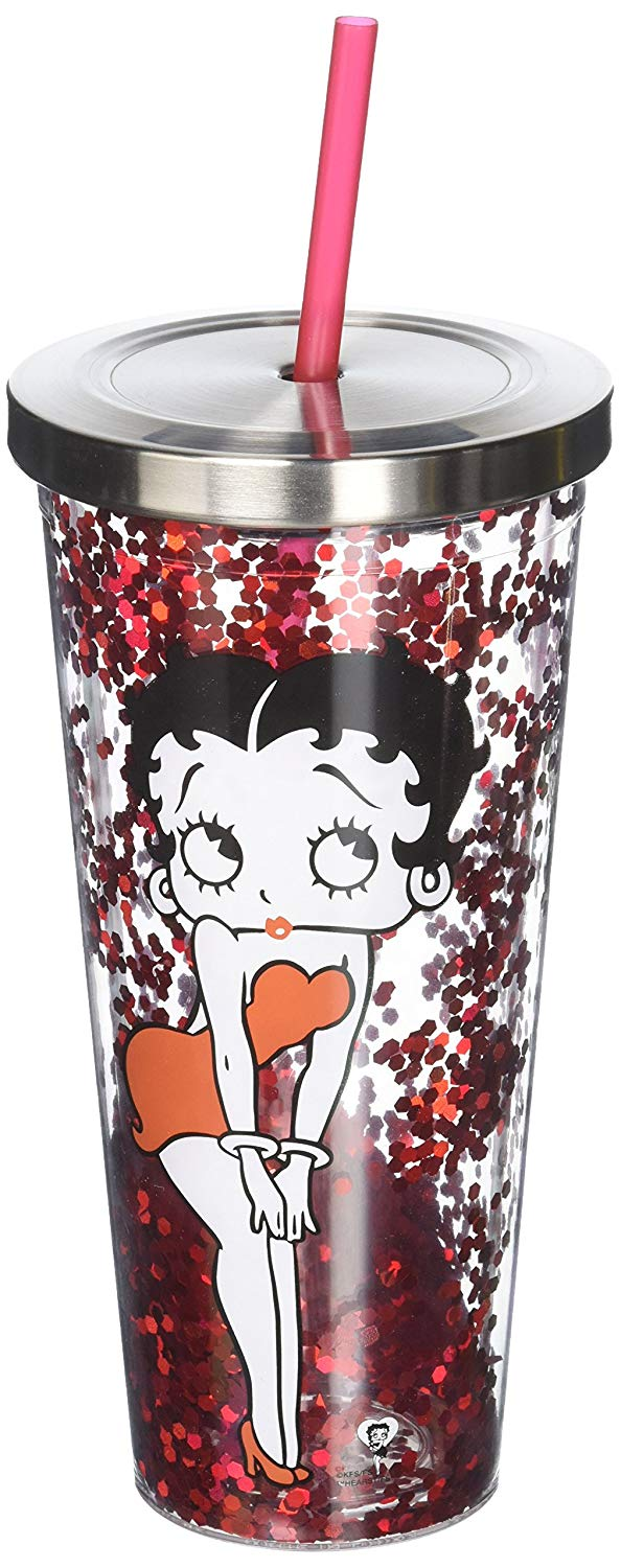 Betty Boop - Glitter Cup With Lid and Straw - Kryptonite Character Store