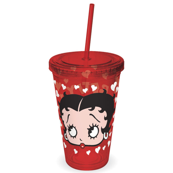 Betty Boop - Face and Hearts Plastic Cup with Lid and Straw - Kryptonite Character Store