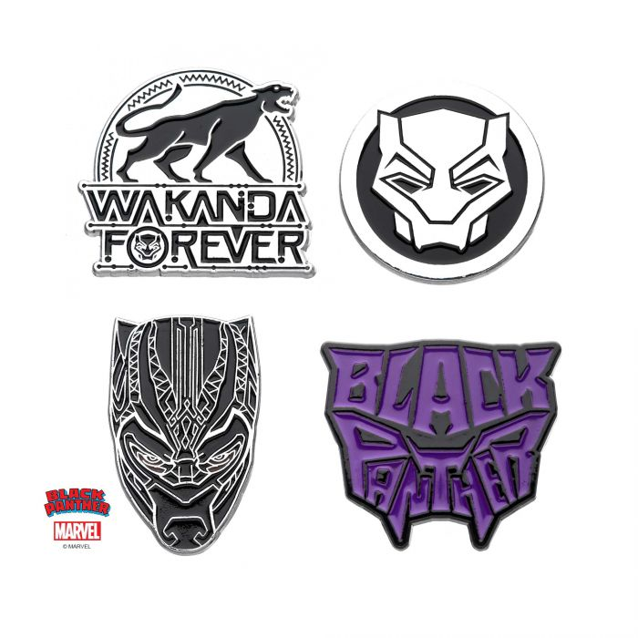 Black Panther Wakanda Forever Enamel Pin Set (4 piece)