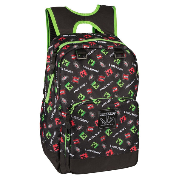 "Minecraft 17"" Scatter Creeper Kids Backpack"