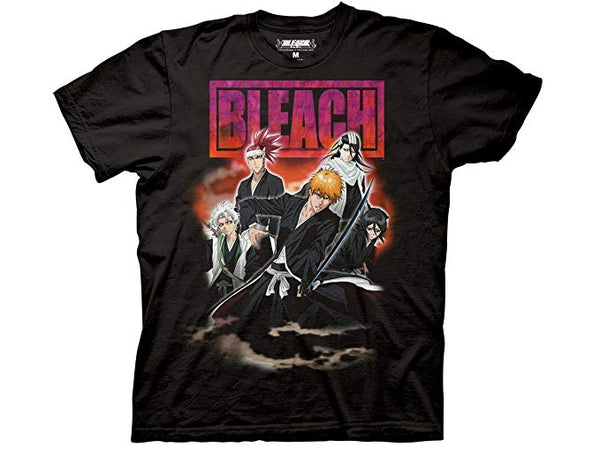 Bleach Group Shot With Smoke Adult Fitted T-Shirt