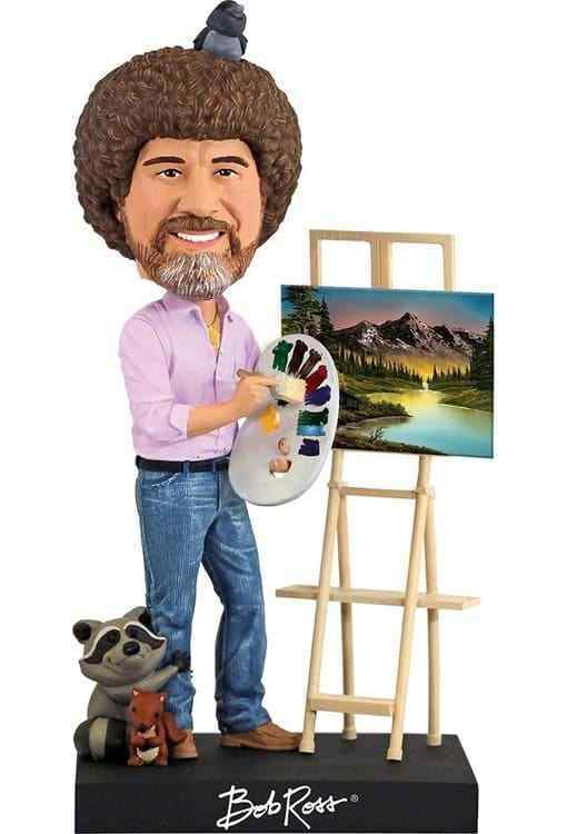 Royal Bobbles - Bob Ross Bobble Head Figure with Easel - Kryptonite Character Store