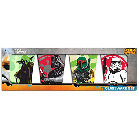 Star Wars Character Fight 4-Piece Colored Mini Glass Set, 1-Ounce Each