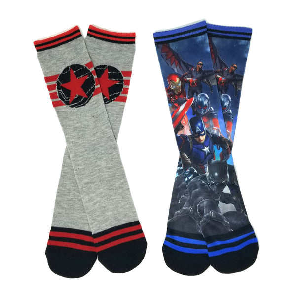 Marvel - Captain America - Civil War Adult Size All Over Print Socks - 2 Pairs - Kryptonite Character Store