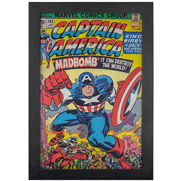 "Captain America Comic Book Cover Framed Wall Art 19"" x 13"" - Kryptonite Character Store"