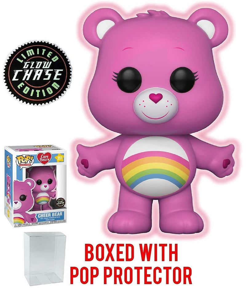 Funko Pop! Animation: Care Bears - Cheer Bear CHASE Variant Glow in the Dark Vinyl Figure (Packed with Pop Box Protector Case) - Kryptonite Character Store