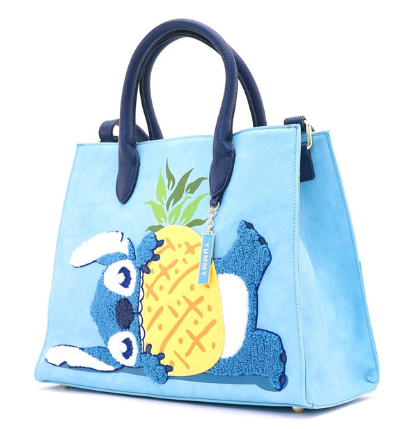Disney Lilo and Stitch Pineapple Chenille Crossbody Tote Bag Loungefly