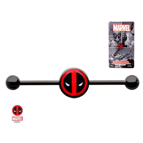 14g 1 3/8 Black Plated Industrial Barbell with Deadpool Logo