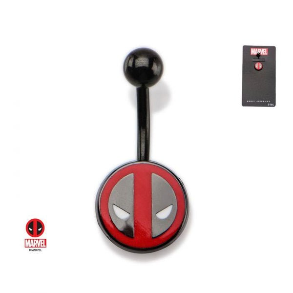 14g 7/16 Black Plated Navel with Fixed Deadpool Logo Charm