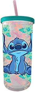 Lilo and Stitch Tropical Pattern Plastic Tall Tumbler 20-Ounce