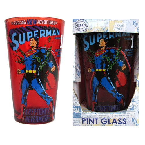 Superman Breaking Chains 16 oz. Pint Glass - Kryptonite Character Store
