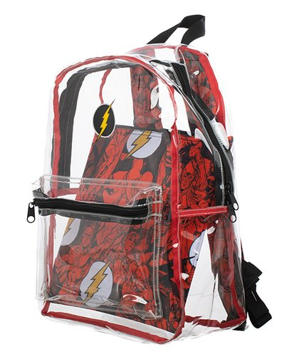 DC Comics - The Flash - Clear Transparent School Backpack - Kryptonite Character Store